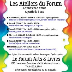 programme de début Aout 2017