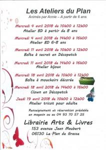 programme du Plan de Grasse Début Avril 2018