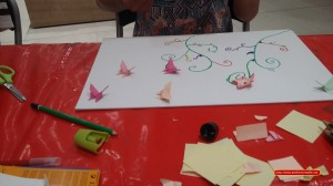 tableau arabesque et fleurs origami
